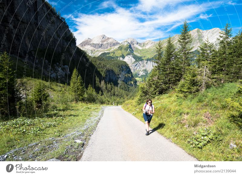 Human being Nature Vacation & Travel Summer Landscape Calm Joy Mountain Adults Life Lifestyle Lanes & trails Movement Sports Feminine Contentment