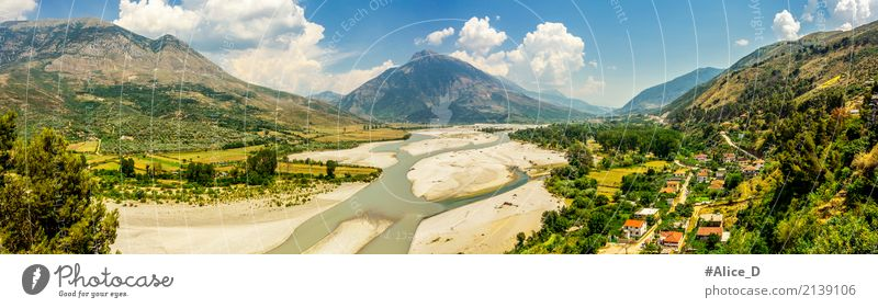River valley landscape in Albania Vacation & Travel Summer Environment Nature Landscape Elements Earth Sand Water Sky Cloudless sky Drought Garden Meadow Field