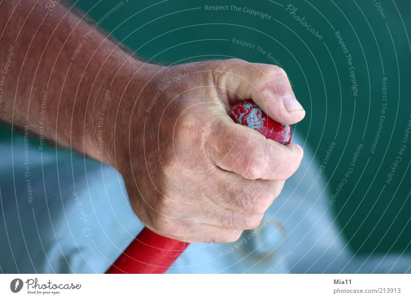 firmly under control Craftsperson Industry Masculine Man Adults Hand Work and employment To hold on Green Red Fingers Fingernail Activate Lever Thumb Power Hold