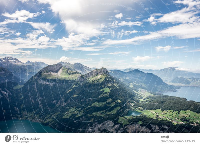 View from Fronalpstock CH Environment Nature Landscape Sky Summer Beautiful weather Alps Mountain Lake Natural Blue Green fronalpstock stoos Canton Schwyz
