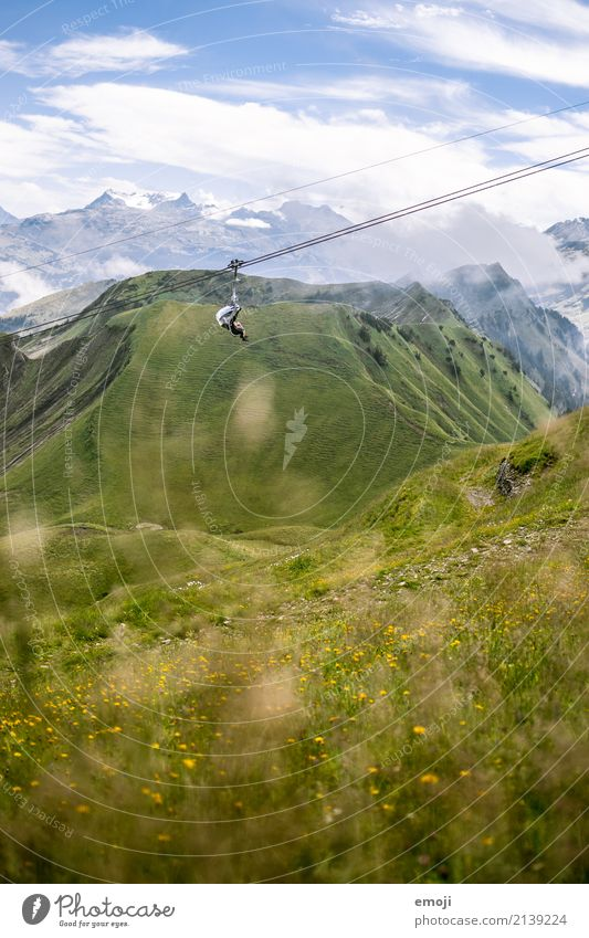 chairlift Environment Nature Landscape Plant Summer Beautiful weather Meadow Alps Mountain Natural Green Chair lift Switzerland Hiking Hiking trip Class outing