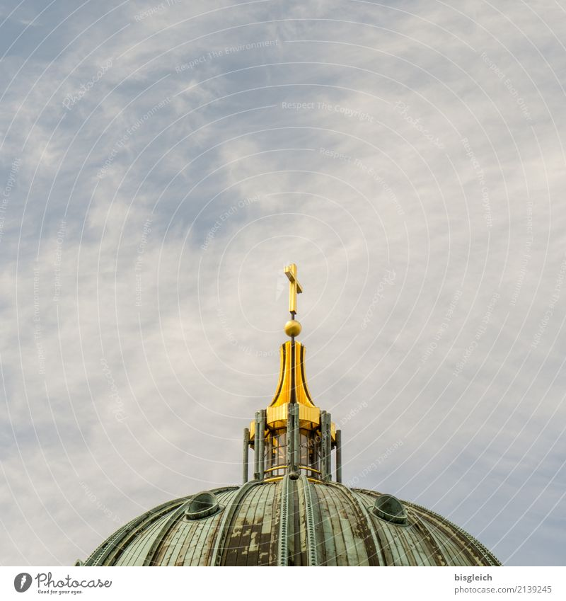 Berlin Cathedral Germany Europe Capital city Church Dome Christian cross Tourist Attraction Landmark Oberpfarrkirche zu Berlin Blue Gold Green Colour photo