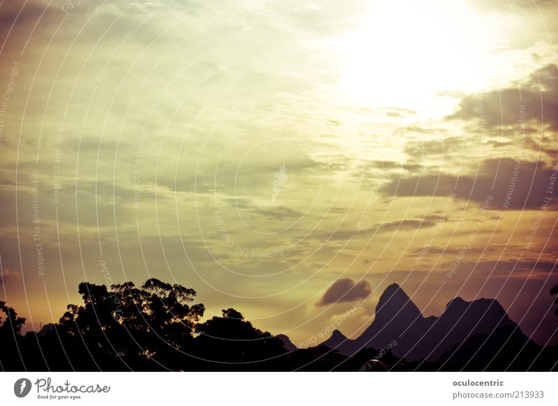 Old Sun Summer Mountain Landscape Environment China Illuminate Beautiful weather Sunrise Silhouette Shadow Sunset Clouds in the sky Guilin