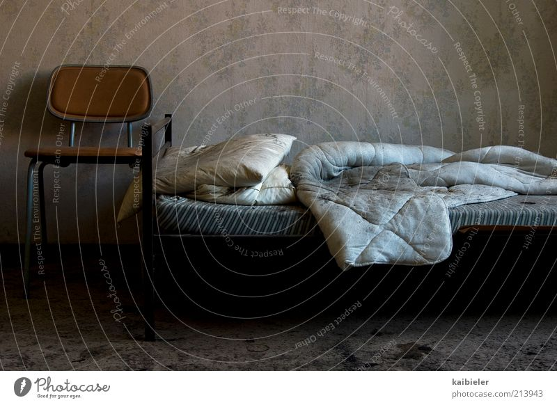 Old Blue Black Loneliness Dark Death Gray Room Dirty Bed Chair Living or residing Transience Interior design Creepy Wallpaper