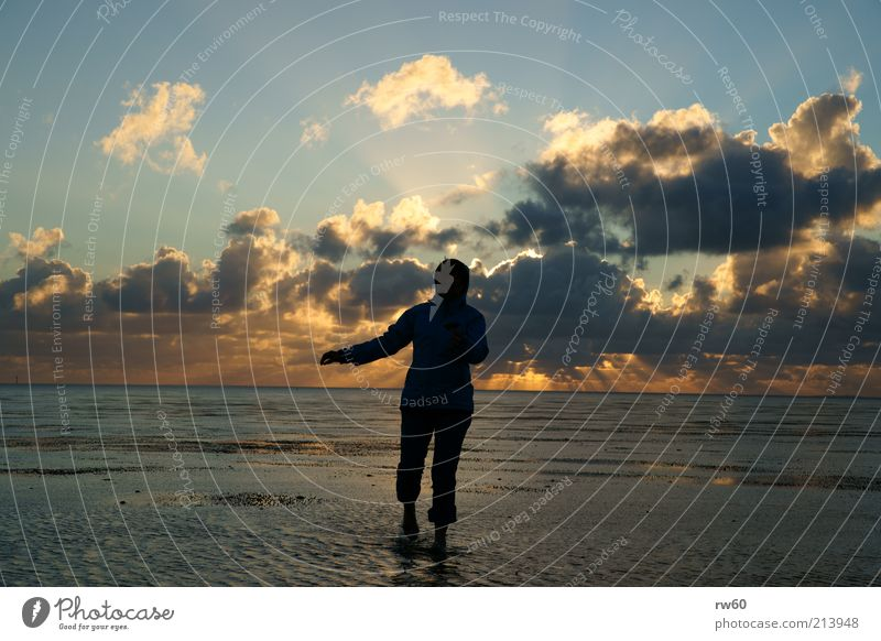 Woman Sky Ocean Joy Clouds Far-off places Freedom Horizon Elegant Walking Wet Esthetic Mud flats Emotions Hooded jacket Walk along the tideland