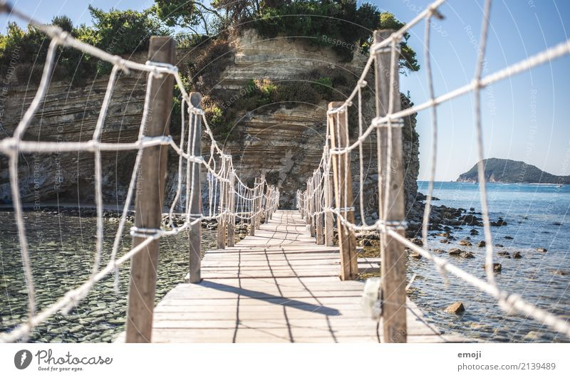 Bridge to Cameo Island Nature Summer Beautiful weather Ocean Tourist Attraction Vacation & Travel Tourism Wooden bridge Zakynthos Vacation photo cameo