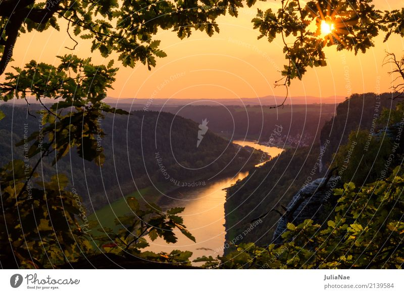 Sunset over the Elbe in the Elbe Sandstone Mountains Elbsandstone mountains Elbsandstein region Saxon Switzerland voyage Travel photography Saxony Germany