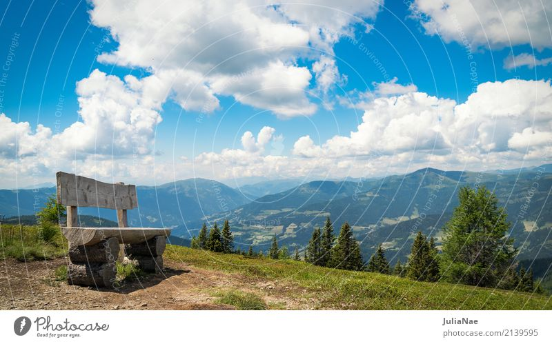 View of the Nockberge mountains from a bench Europe Austria Federal State of Kärnten Alps nockalm scratch inner cremes Vantage point Panorama (View)