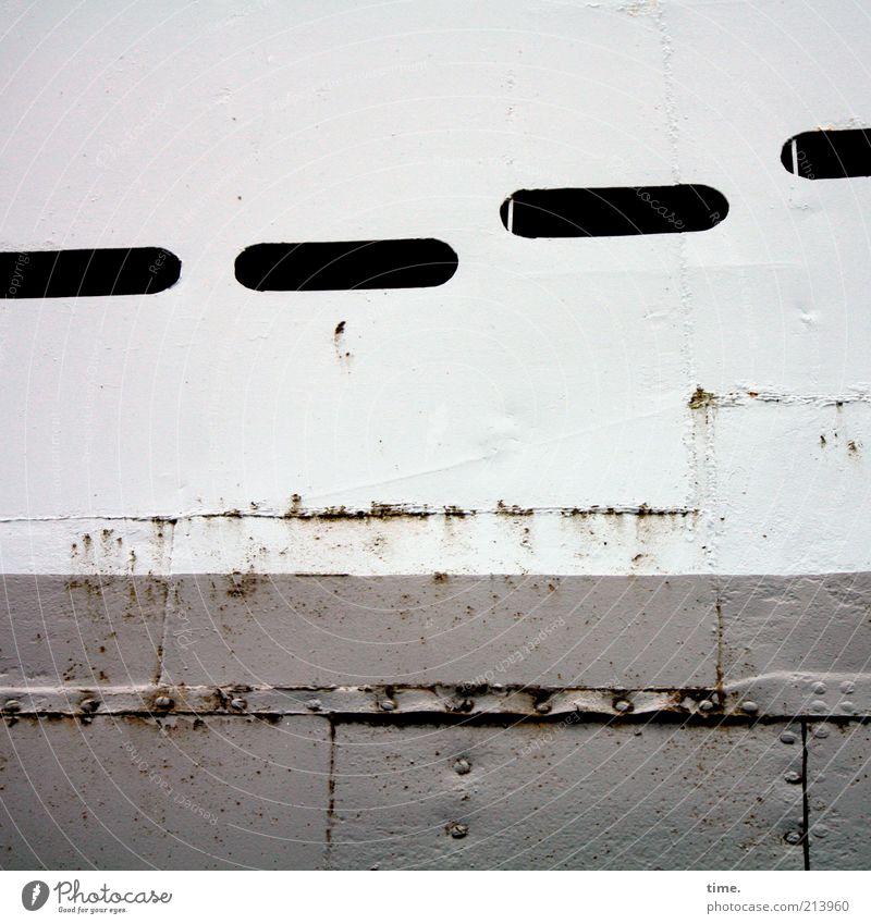 [KI09.1] - Seamen's sheet metal Workplace Navigation Watercraft Metal Rust Historic Gray White Metalware Iron Stitching Welding seam Rivet Tin Slit Gangway