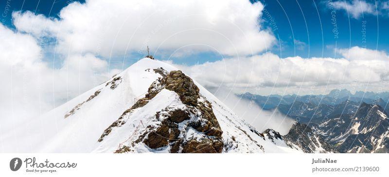 Gifel des mölltal glacier with summit cross Peak Snowcapped peak Mountain Peak cross Alps Austria Glacier Ice Snowfall June Summer Spring Clouds Fog Looking
