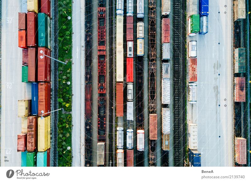 Freight trains and freight containers in a container terminal Economy Industry Trade Logistics Business Transport Means of transport Traffic infrastructure