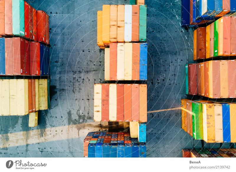 Colorful cargo container in a goods warehouse Economy Industry Trade Logistics Business Transport Truck Container ship Freight train Infinity Shopping Growth