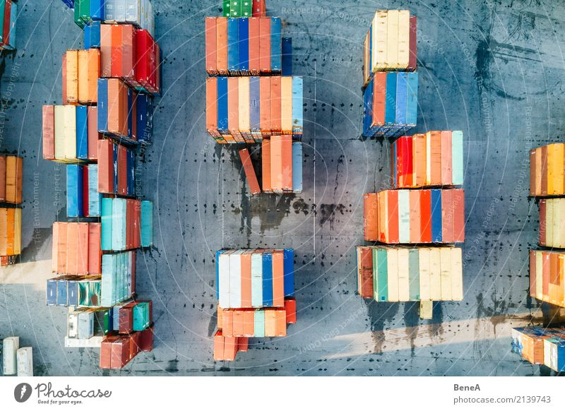 Colorful freight container at a logistics terminal Economy Industry Trade Logistics Business Technology Advancement Future Transport Train travel Truck