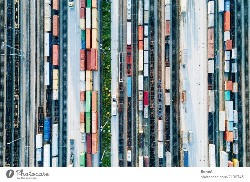 Freight trains and freight containers in a container terminal Economy Industry Trade Logistics Business Technology Transport Means of transport