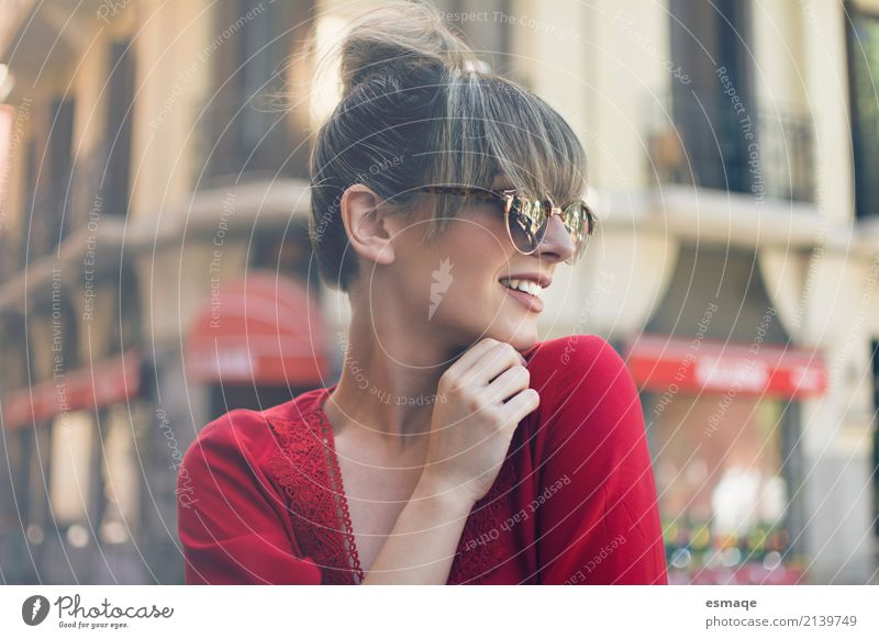streetstyle girl Youth (Young adults) Young woman Town Beautiful Red Joy Lifestyle Feminine Style Laughter Think Design Contentment Elegant Smiling Happiness