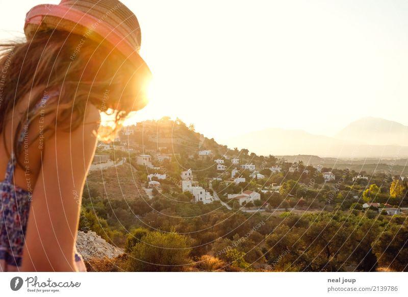 Endless buzzer Feminine Girl 1 Human being 8 - 13 years Child Infancy Landscape Sunlight Summer Beautiful weather Hill Island Crete Greece Village Hat Looking