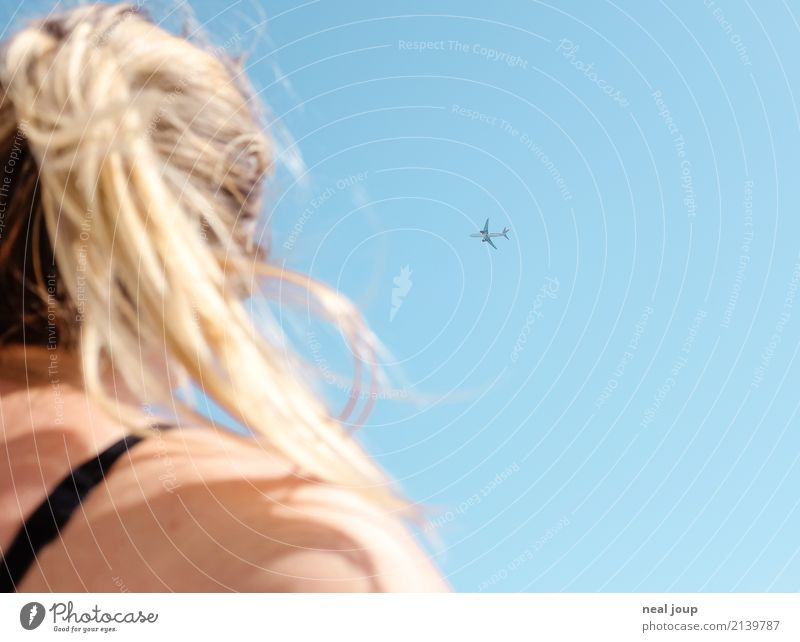 Vacation & Travel Youth (Young adults) Young woman Blue Loneliness Far-off places Feminine Flying Dream Free Aviation Airplane Summer vacation Fear of flying