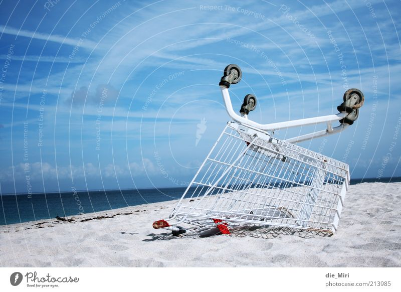 beach buggy Nature Sand Sky Clouds Shopping Trolley Water Blue White Ocean Colour photo Exterior shot Deserted Copy Space left Day Beach Sandy beach