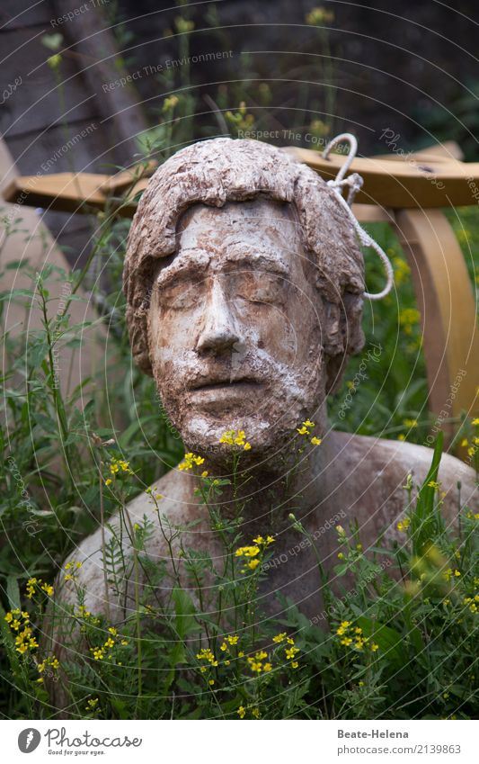 Close to nature Beautiful Relaxation Calm Meditation Human being Masculine Young man Youth (Young adults) Head Face Work of art Sculpture Environment Nature