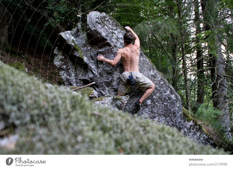 Human being Man Nature Youth (Young adults) Vacation & Travel Forest Sports Mountain Movement Freedom Stone Landscape Power Body Adults