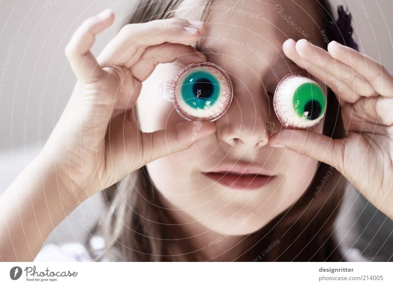 Human being Child Girl Beautiful Green Eyes Funny Blonde Happiness Face Mask Carnival Infancy Curiosity Hide