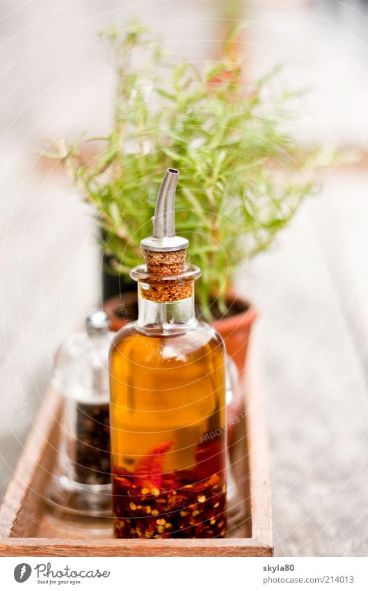 Herbs and spices Still Life Food Object photography Nutrition Ingredients Rosemary Vinegar Glassbottle Wooden bowl