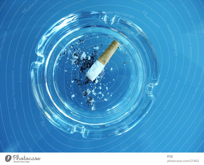 ashtrays Ashtray Cigarette Expressed Table Round Intoxicant Nicotine Flat Living or residing Ashes Blue Glass Furrow Filter Cigarette Butt