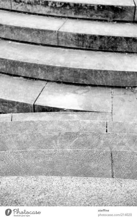 [H 10.1] Upstairs, downstairs Stairs Stone Concrete Gray Gloomy Downward Upward Black & white photo Exterior shot Shallow depth of field Exceptional Corner