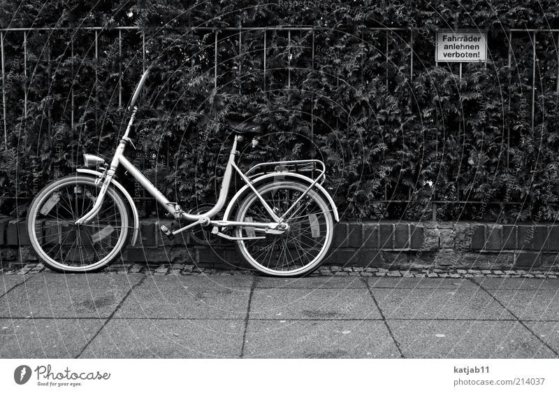 Bicycle Signage Sidewalk Fence Still Life Parking Bans Warning sign Black & white photo Action Wayside Break taboo