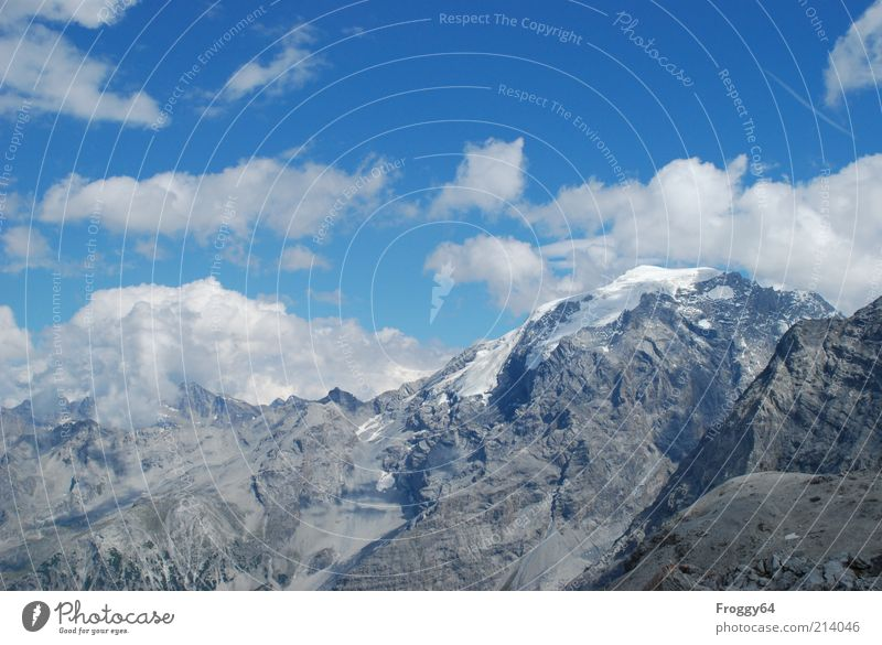 Nature Sky White Blue Summer Clouds Far-off places Mountain Gray Stone Landscape Air Environment Rock Target Alps