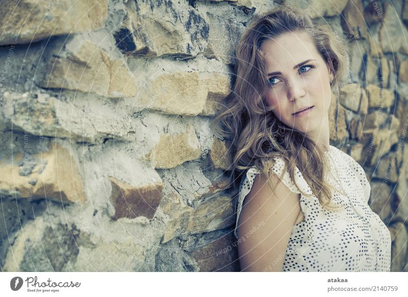 portrait of a beautiful young sad girl standing near the wall Human being Woman Nature Youth (Young adults) Summer Beautiful Relaxation Loneliness Face Adults