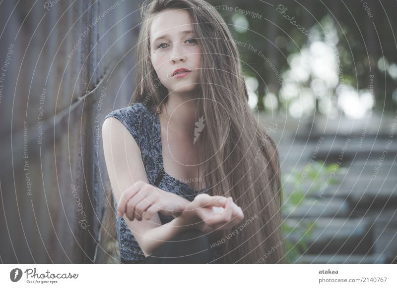 portrait of a beautiful young sad hipster girl Lifestyle Style Beautiful Face Relaxation Freedom Summer Human being Woman Adults Youth (Young adults) Nature