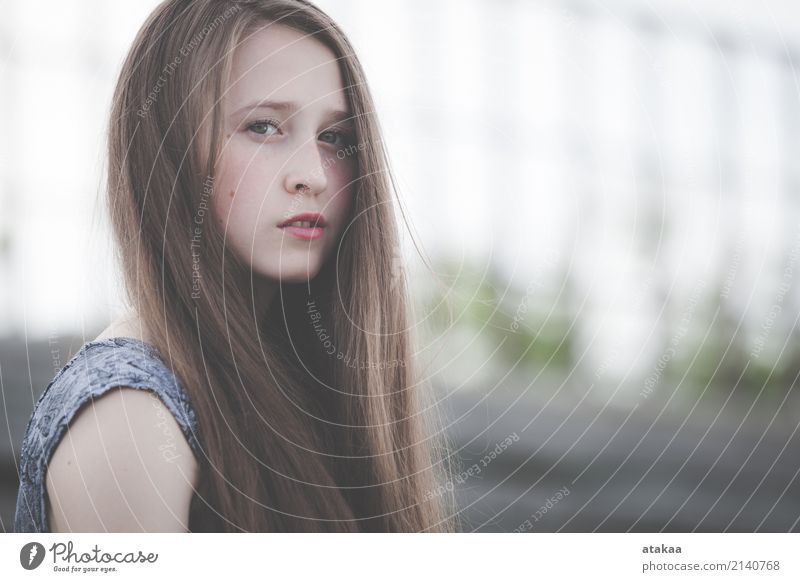 portrait of a beautiful young sad hipster girl Human being Woman Nature Youth (Young adults) Summer Beautiful Relaxation Loneliness Face Adults Street Lifestyle