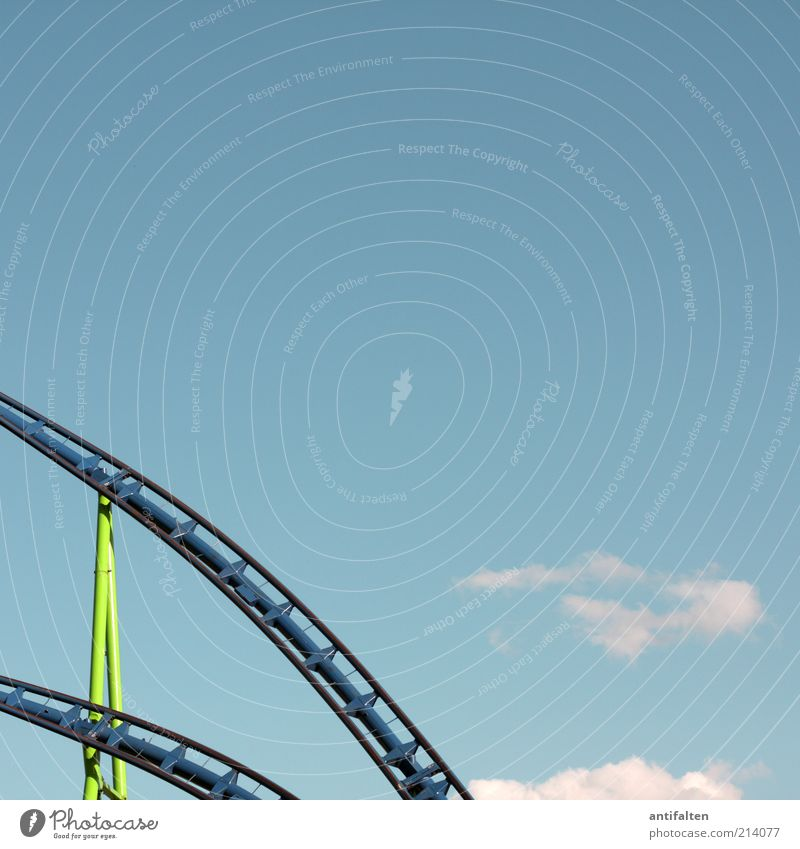 roller coaster Joy Leisure and hobbies Trip Summer Feasts & Celebrations Fairs & Carnivals Nature Air Sky Clouds Beautiful weather Steel Driving Blue Green