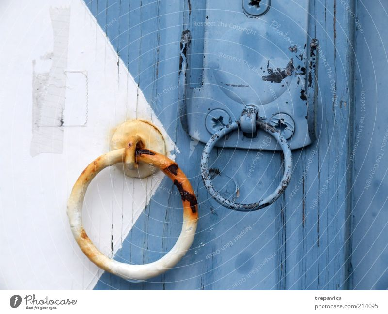... knock knock... House (Residential Structure) Building Door Wood Metal Rust Old Esthetic Cold Wet Blue White Deserted Castle Closed Circle Circular