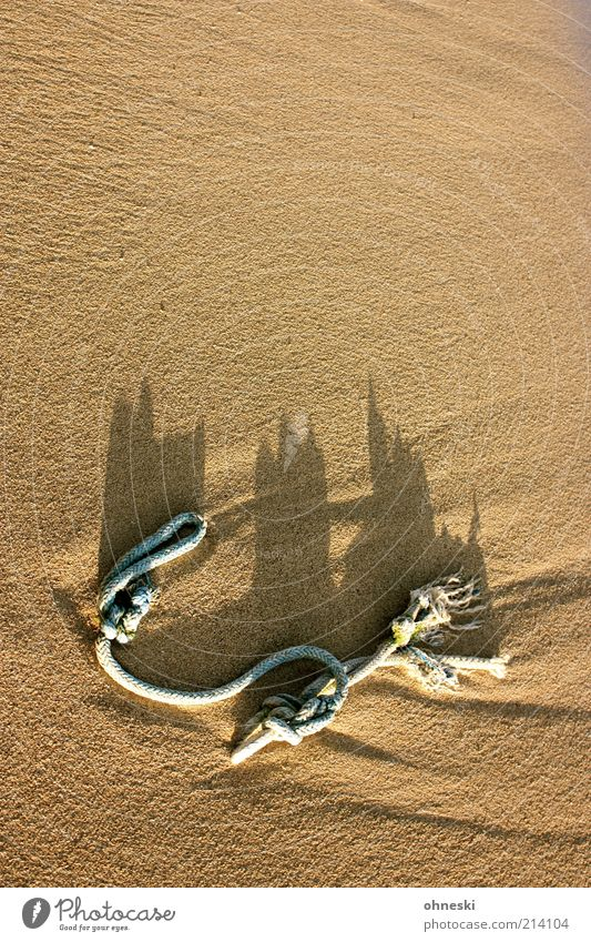 sandcastle Vacation & Travel Summer vacation Rope Beach Knot Sand Flotsam and jetsam Colour photo Shadow Sunlight Deserted Copy Space top Copy Space middle