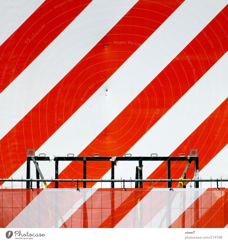 White Red Line Design Signs and labeling Fresh Modern New Authentic Simple Construction site Stripe Signage Creativity Diagonal