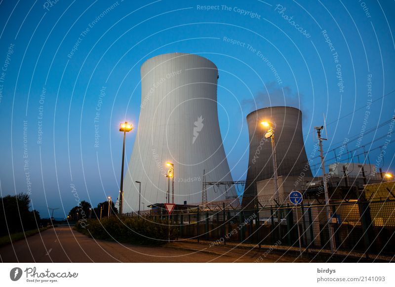 energy giant Video camera Energy industry Nuclear Power Plant Cloudless sky Night sky Philippsburg Germany Industrial plant Cooling tower Street Road sign