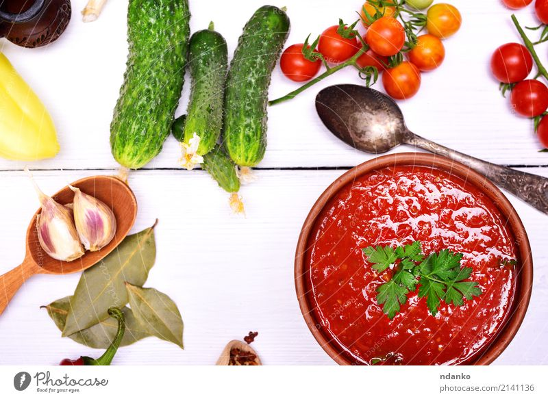 Fresh gazpacho soup Vegetable Soup Stew Herbs and spices Vegetarian diet Diet Plate Spoon Summer Table Kitchen Wood Eating Fat Green Red White Tradition Tomato