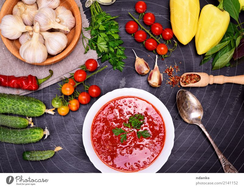 Fresh cold tomato and vegetable soup Summer Green White Red Wood Nutrition Table Herbs and spices Kitchen Delicious Vegetable Harvest Tradition Fat Bread