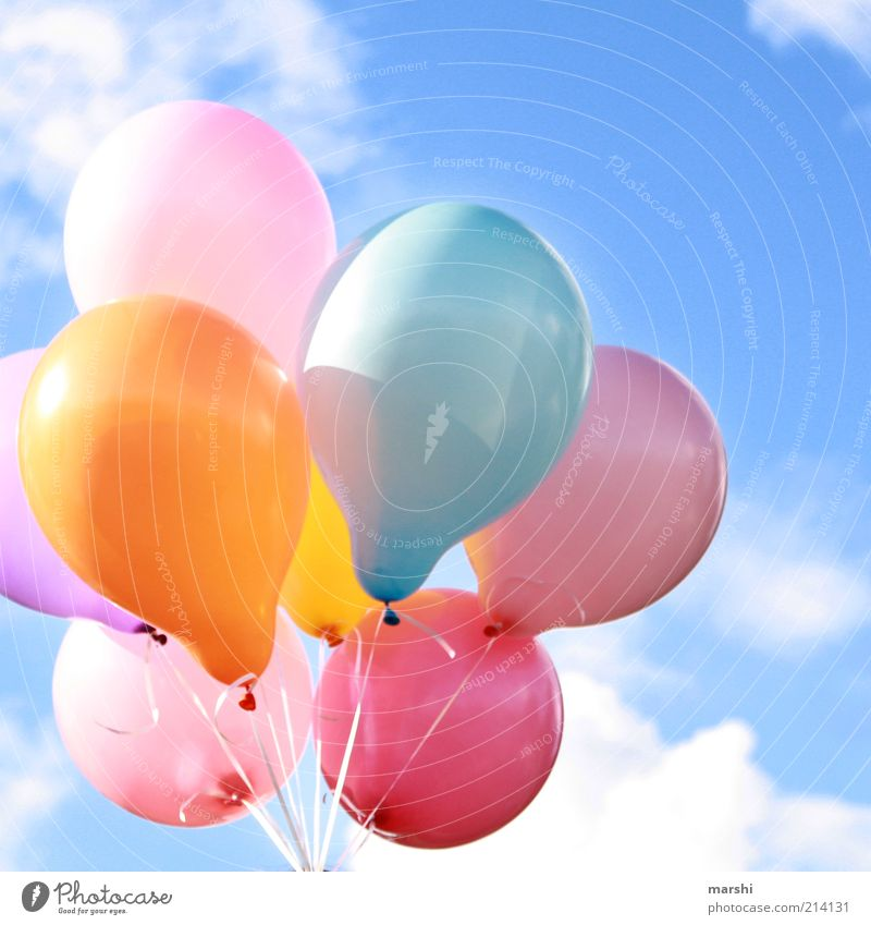 So close to heaven Sky Clouds Multicoloured Balloon Flying Floating Birthday Occasion Freedom Beautiful Beautiful weather Colour photo Exterior shot Sunlight
