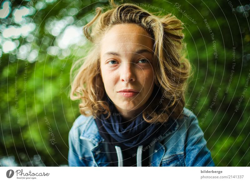 view Lifestyle Feminine Young woman Youth (Young adults) Woman Adults Head Hair and hairstyles Nature Forest Sweater Jacket Long-haired Emotions Berlin
