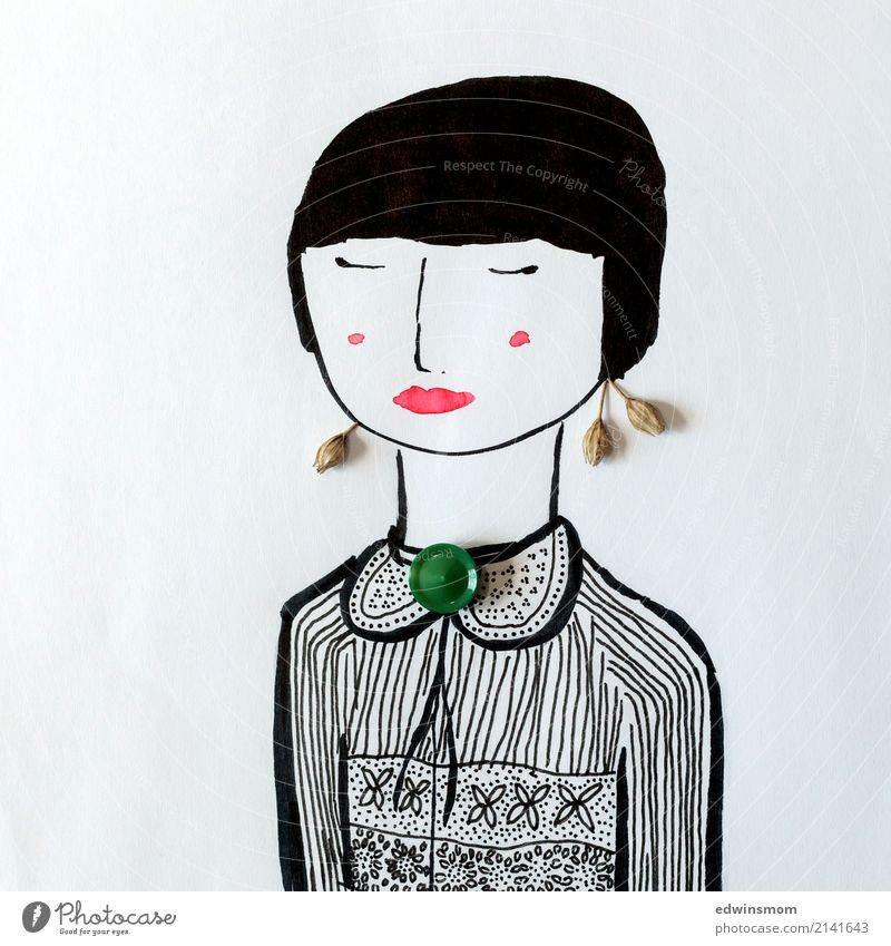 Miss Elegant Leisure and hobbies Handicraft Feminine Young woman Youth (Young adults) 1 Human being Plant Accessory Jewellery Black-haired Short-haired Paper