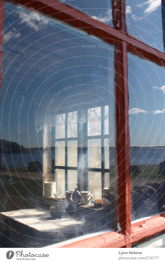 Old Sky Ocean Summer Window Glass Authentic Living or residing Transience Hut Past Historic Window pane Mirror image Partially visible Stagnating