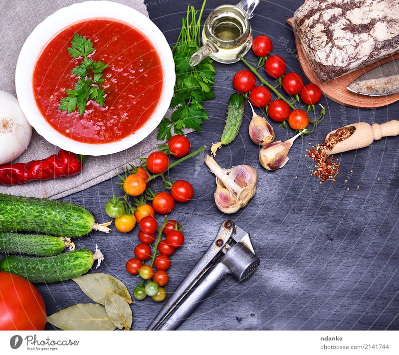 Gazpacho spanish cold soup Summer Green White Red Wood Food Nutrition Fresh Table Herbs and spices Kitchen Delicious Vegetable Harvest Tradition Fat