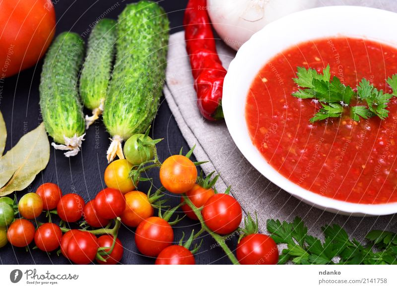 Cold summer soup gazpacho Vegetable Soup Stew Herbs and spices Nutrition Lunch Dinner Vegetarian diet Diet Plate Summer Table Kitchen Wood Fat Fresh Delicious