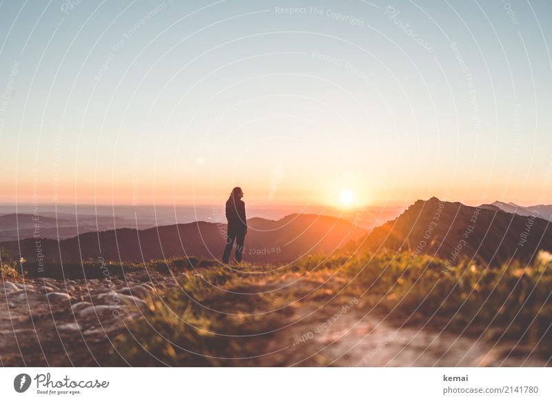Human being Vacation & Travel Summer Landscape Relaxation Calm Far-off places Mountain Warmth Lifestyle Feminine Grass Freedom Rock Trip Leisure and hobbies
