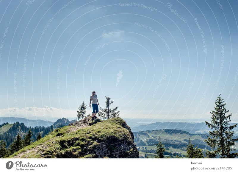Woman on top of mountain while hiking in nice weather Lifestyle Well-being Contentment Relaxation Calm Leisure and hobbies Vacation & Travel Trip Adventure