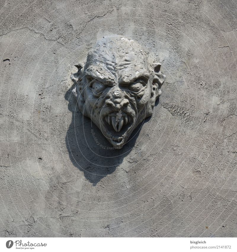 monster Head Teeth Sculpture Threat Gray Monster Dracula Colour photo Exterior shot Copy Space bottom Day