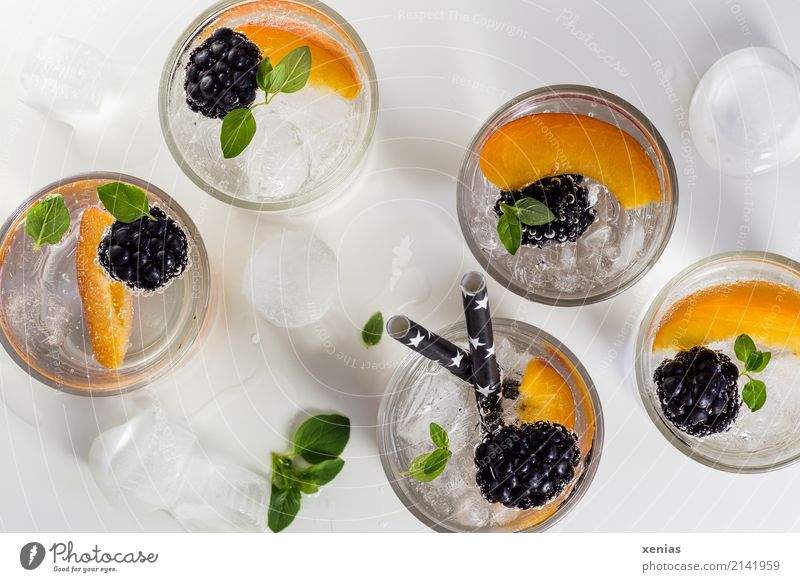 Five glasses of vitamin water with blackberries, nectarine, ice cubes and oregano Cold drink Blackberry Nectarine Oregano Organic produce Fruit Diet Fasting